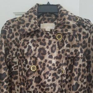 Michael By Michael Kors Leopard Rain Jacket. XS